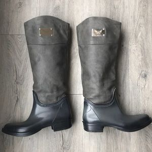 Shoes - Rain boots with leather uppers.
